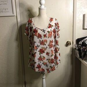 Torrid Vintage Rose Drape Back Top - Size 0